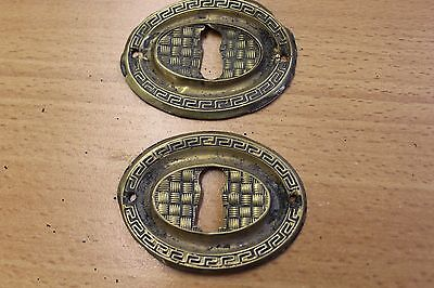 2 Antique Oval Pressed Brass Keyhole Covers