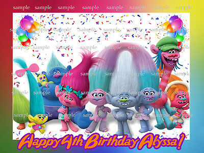 TROLLS Edible Photo CAKE Image Icing Topper Decoration FREE SHIPPING