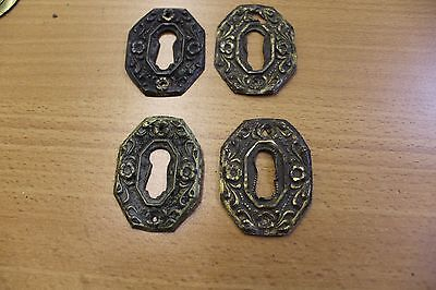 4 Antique OCTAGONAL Pressed Brass Keyhole Covers -FLORAL DESIGN