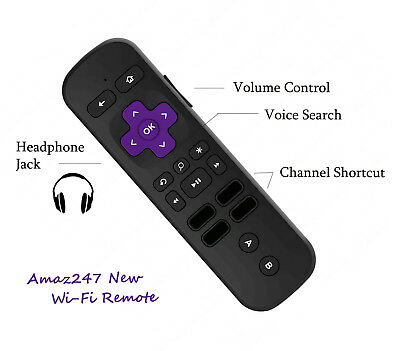 ENHANCED VOICE REMOTE w/ headphone jack Pairing for Roku Streaming Stick