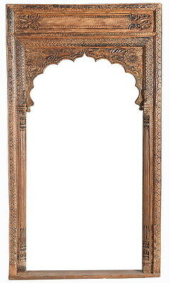 "54"" L Alondra old arch door frame hand carved spectacular distressed finish"