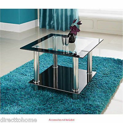 Phoenix Square Clear Black Glass Side Lamp Table