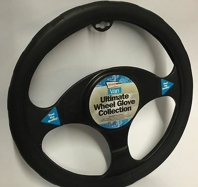 Nissan Pathfinder Black Chunky Soft Grip Steering Wheel Cover Glove 39cm