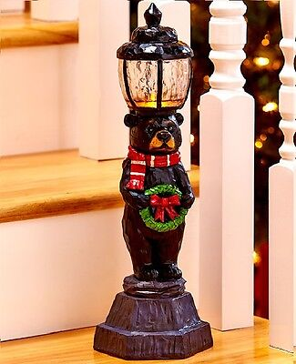 "Christmas Woodland Bear Ceramic Tabletop Lamppost Light Holiday Decor 15""H"