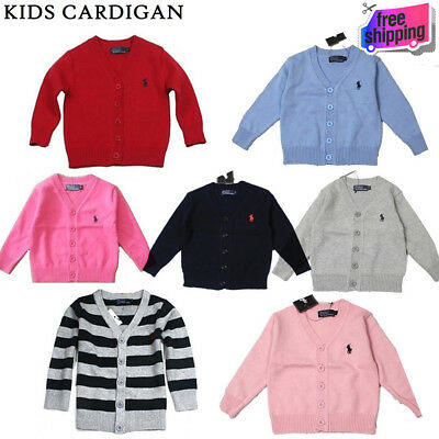 New Polo Girls Kids Long Sleeve Knitted Cotton Cardigan Outwear Casual Sweater