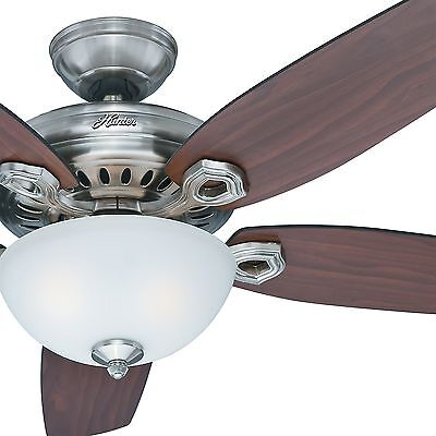 """54"""" Hunter Fan Brushed Nickel Ceiling Fan with Light Kit and Remote Control"""