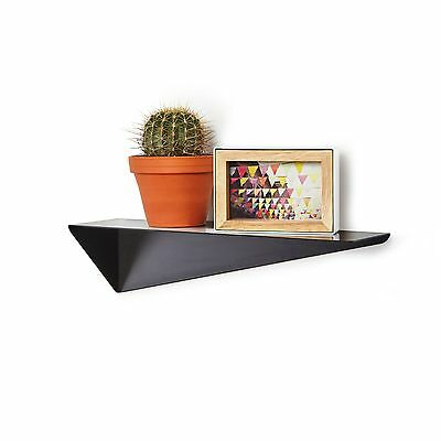 Modern Contemporary Angular Reversible Black Metal Stealth Wall Display Shelf