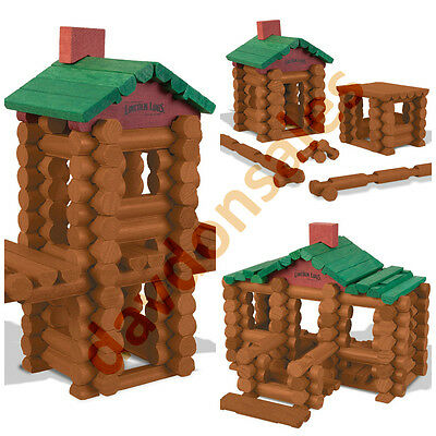 Lincoln Logs Wood Toy Pieces Vintage Set Building Construction Anniversary Tin