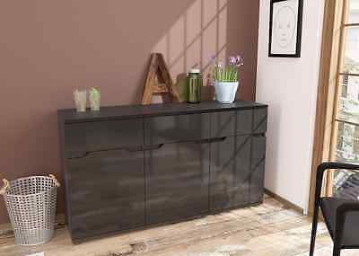 Aspire High Gloss Black 3 Door Sideboard Chest Storage Unit with Drawers