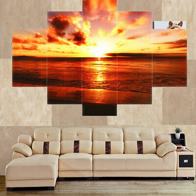 Set of 5pcs Canvas Wall Art Painting Pictures SEASIDE & SUNSET Hanging Decor
