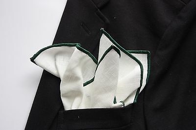 NEW-100% White Linen Pocket Square with Forest Green Trim
