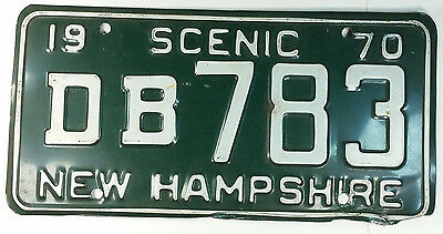 N.H. NH New Hampshire 1970 License Plate # DB783 Scenic