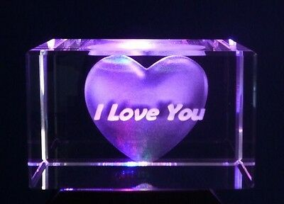 LASER 3D CRYSTAL BLOCK HEART AND I LOVE YOU ORNAMENT BRAND NEW Great Gift