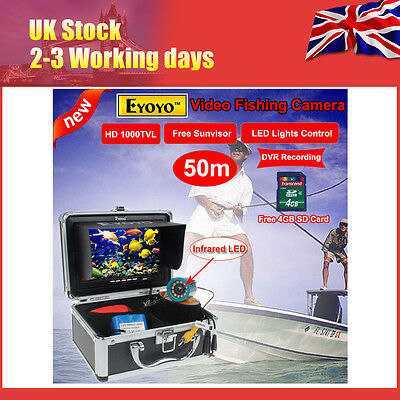 """7"""" Monitor 50M Infrared Underwater Fishing Camera DVR Fish finder+Lights Control"""