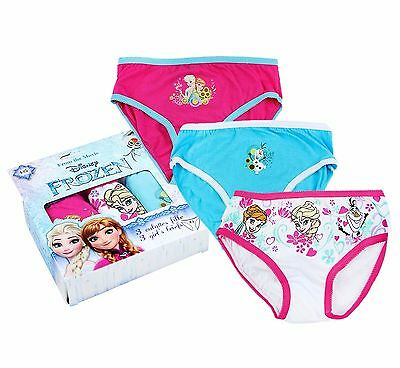 NEW Official Frozen Girls Pink & Blue Multi Pack of 3 Cotton Knickers Pants Set