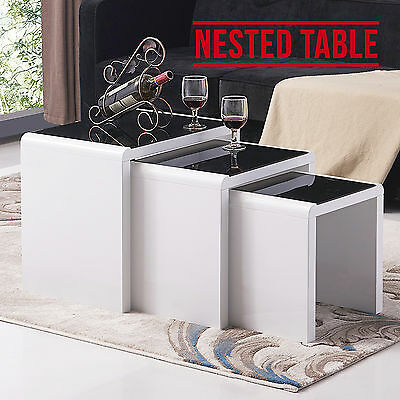 Modern Design High Gloss White + Black Glass Nest of 3 Coffee Table Living Room