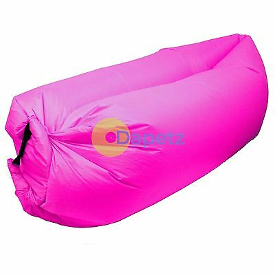 Pink Inflatable Sofa Air Bag Lounger Chair Comfort Outdoor Camping Beach Relax