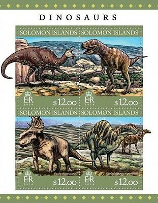 Z08 IMPERFORATED SLM16305a SOLOMON ISLANDS 2016 Dinosaurs MNH