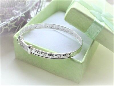 little baby bangle sterling silver Little bears boy girl Christening pouch orbox