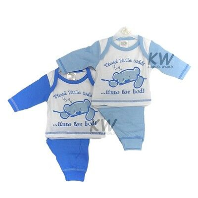 """Baby Boys """"Tired Little Teddy"""" Pyjamas by Lullaby 0-3 3-6 6-9 Months"""