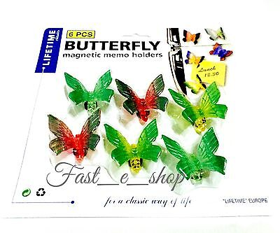 Pack Of 6 LifeTime 3D BUTTERFLY Magnetic Memo/Note Holder Kitchen Wall/Fridge