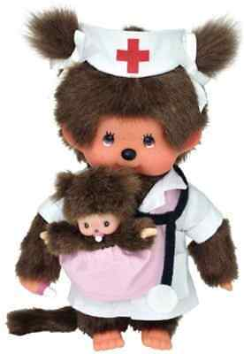 Monchhichi Midwife 20cm Nurse with small Baby Girl Nurse and Girl