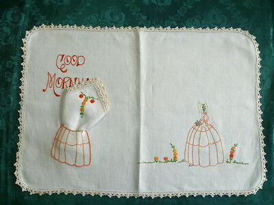 Vintage Hand Embroidered Tray Cover With Victorian Lady Scene
