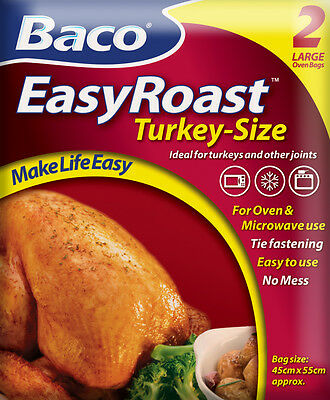 Bacofoil 2 Large Turkey Size No Mess Microwave & Oven Roasting Bags