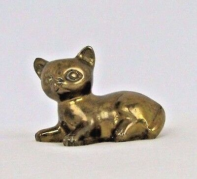 Vintage Brass Cat Figurine Kitten Laying Down Solid Metal Paperweight