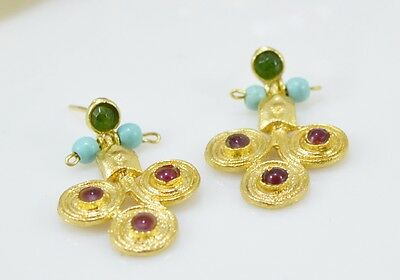 Ottoman Gems semi precious gem stone gold plated earrings Jade ethnic handmde