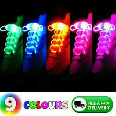 LED Shoe Laces Flash Light Up Colors Glow Strap Flashing Shoelaces Party Cool