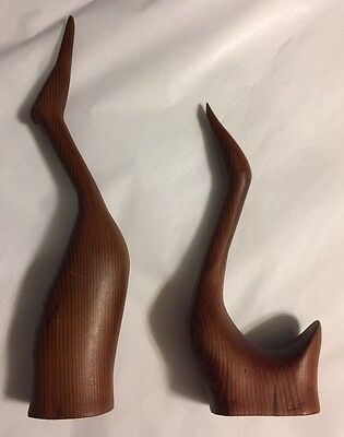 """Vintage Pair Of Hand Carved Mid Century Wooden Cranes 7 And 10"""" High"""
