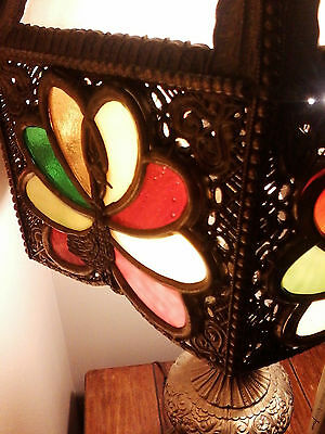 Beautiful Stained Glass Peacock Lamps - Set Of 2