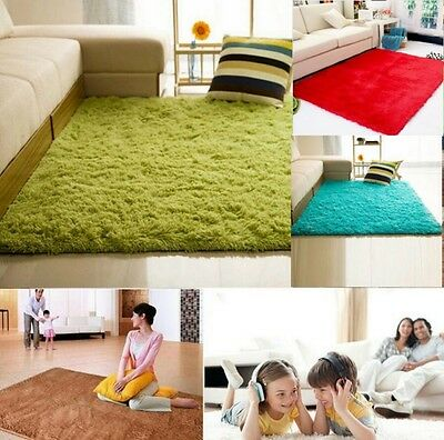 Fluffy Rugs Anti-Skid Area Rug Shaggy Carpet Home Bedroom Dining Room Mat Modern