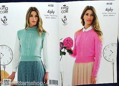 Ladies 4 Ply Knit Lacy Sweater & Sleeveless Top Knitting Pattern 28 - 46 Inch
