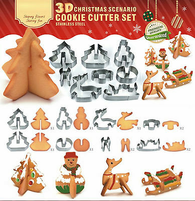 8 Xmas Gift 3D Cookie Cutters metal Biscuit Pasrty Mould Santa Decoration Baking