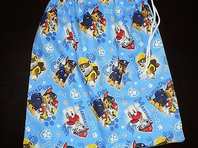Handmade library bag first name embroidered free  Paw Patrol prints Blue Colour