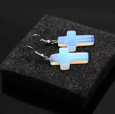 1 pair Natural Stone cross Opal Crystal Quartz Point Gem Earrings Jewelry