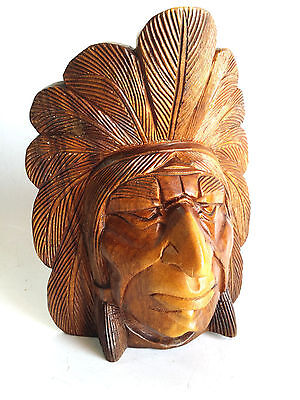 """Hand Carved Wooden Indian Face Head Native American Sculpture Plaque 12"""" Decor"""