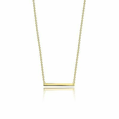 14K SOLID YELLOW GOLD Custom Horizontal Bar Necklace Pendant + Rolo Cable Chain