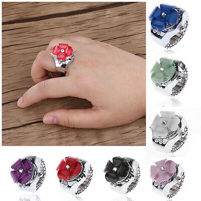 Fashion Women Clover Elastic Finger Ring Watch Steel Round Dial Quartz Watch New