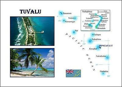 Tuvalu Country Map New Postcard