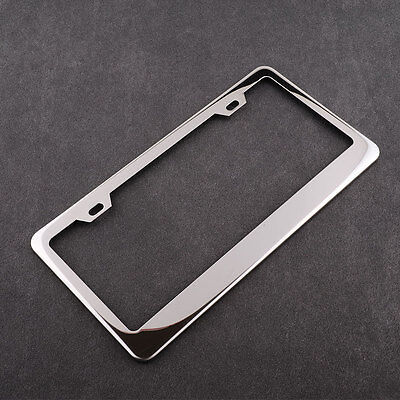 Chrome Stainless Steel Silver License Plate Frame +Screw Caps For Auto Car