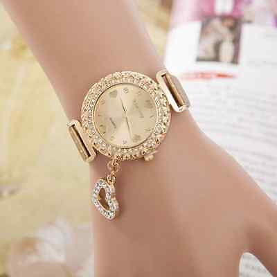 Luxury Women Bracelet Bangle Leather Crystal Dial Quartz Wrist Watch Gift Gold