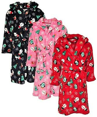 NEW Girls Boys Soft Fluffy Velour Xmas Print Hooded Dressing Gown Bath Robe 2-6y