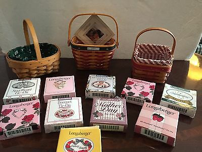 LARGE Longaberger Lot Of Baskets,Liners & Tie On Basket Accessories L@@K $45 BN