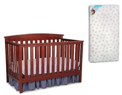 Crib Convertible 4in1 Baby With Mattress Toddler Nursery Bed Changer Side NEW!