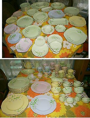 """121 Piece Royal Albert China """"Laurentian Snowdrop"""" All 5 Colors,Some Rare Pieces"""
