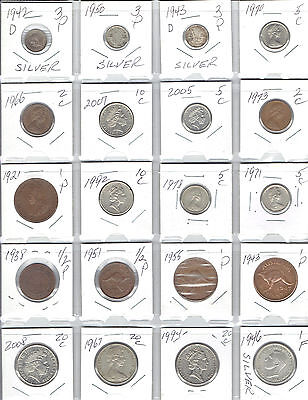 AUSTRALIA Lot of 20 Different Coins - 4 Silver Coins - Nice Older Australian Lot