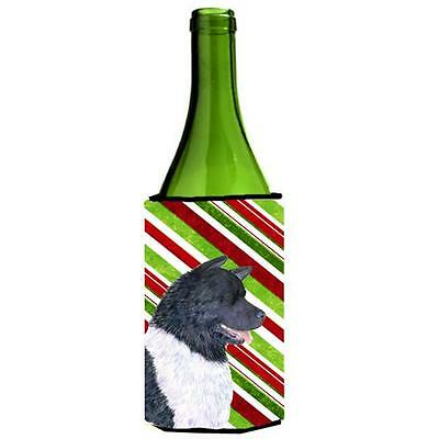 Akita Candy Cane Holiday Christmas Wine bottle sleeve Hugger 24 oz.